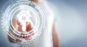Homme d'affaires touchant la maison d'icône du rendu 3D avec son doigt Photo stock