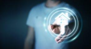 Homme d'affaires touchant la maison d'icône du rendu 3D avec son doigt Image stock