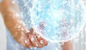 Homme d'affaires touchant la sphère de réseau informatique du rendu 3D avec son f Images stock