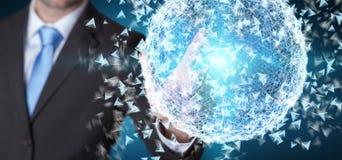 Homme d'affaires touchant la sphère de réseau informatique du rendu 3D avec son f Photographie stock