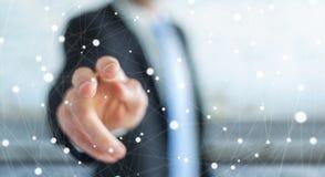 Homme d'affaires touchant le rendu de flottement du réseau 3D de point Photographie stock