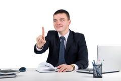 Homme d'affaires touchant un écran imaginaire Photographie stock