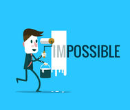 Homme d'affaires tournant le mot impossible dans possible Photo libre de droits