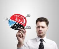 Homme d'affaires traçant un graphique coloré de diagramme circulaire  photographie stock