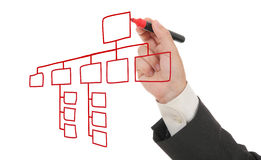 Homme d'affaires traçant un organigramme Image stock