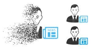 Homme d'affaires tramé déchiqueté News Icon de Pixelated avec le visage illustration de vecteur