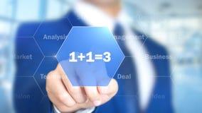 1+1=3, homme d'affaires travaillant à l'interface olographe, graphiques de mouvement images stock