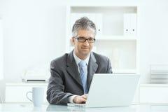 Homme d'affaires travaillant au bureau image stock