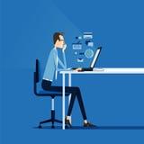 Homme d'affaires travaillant le concept en ligne Images stock