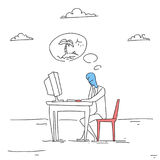 Homme d'affaires travaillant sur des vacances de Thinking About Seaside d'homme d'affaires d'ordinateur illustration stock