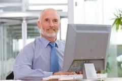 Homme d'affaires travaillant sur l'ordinateur portatif Image libre de droits