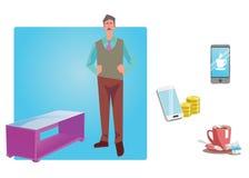 Homme d'affaires, travailleur, employé dans des vêtements sport les graphismes des affaires cs2 ENV d'AI comprend Design d'entrep Photographie stock