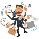 Homme d'affaires trop occupé, brun, barbe illustration libre de droits