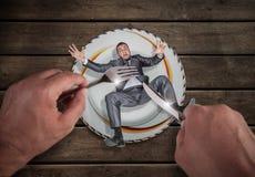 Homme d'affaires d'un plat, problème de petite entreprise images libres de droits