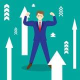 Homme d'affaires Among Upward Arrows Illustration de Vecteur