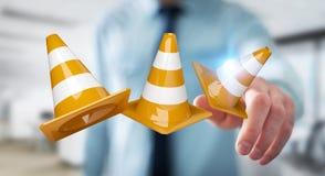Homme d'affaires utilisant 3D numérique rendant les signes en construction Image stock