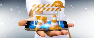 Homme d'affaires utilisant 3D numérique rendant les signes en construction Image libre de droits