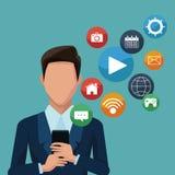 Homme d'affaires utilisant des apps de smartphones Photos libres de droits