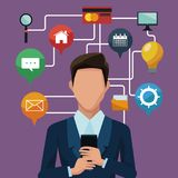 Homme d'affaires utilisant des apps de smartphones Photo stock