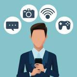 Homme d'affaires utilisant des apps de smartphones Photos stock