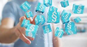 Homme d'affaires utilisant des cubes en loi du rendu 3D Photo stock