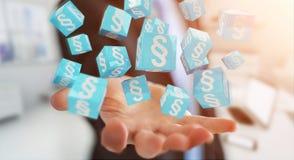 Homme d'affaires utilisant des cubes en loi du rendu 3D Image libre de droits