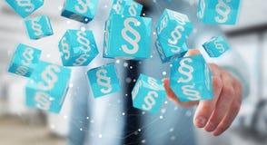 Homme d'affaires utilisant des cubes en loi du rendu 3D Image stock