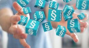 Homme d'affaires utilisant des cubes en loi du rendu 3D Images libres de droits
