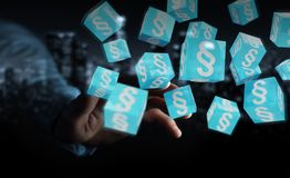 Homme d'affaires utilisant des cubes en loi du rendu 3D Photo libre de droits
