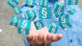 Homme d'affaires utilisant des cubes en loi du rendu 3D Images stock