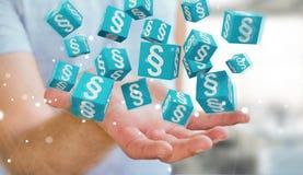 Homme d'affaires utilisant des cubes en loi du rendu 3D Photographie stock