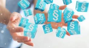 Homme d'affaires utilisant des cubes en loi du rendu 3D Photos stock