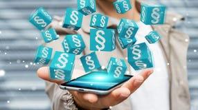 Homme d'affaires utilisant des cubes en loi du rendu 3D Photographie stock libre de droits