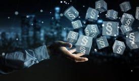 Homme d'affaires utilisant des cubes en loi du rendu 3D Photos libres de droits