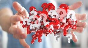 Homme d'affaires utilisant des points d'interrogation du rendu 3D Image libre de droits