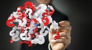 Homme d'affaires utilisant des points d'interrogation du rendu 3D Image stock