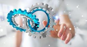 Homme d'affaires utilisant flotter le rendu moderne du mécanisme de vitesse 3D Photographie stock libre de droits