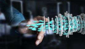 Homme d'affaires utilisant flotter le rendu moderne du mécanisme de vitesse 3D Images stock