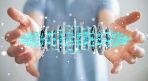 Homme d'affaires utilisant flotter le rendu moderne du mécanisme de vitesse 3D Photo libre de droits