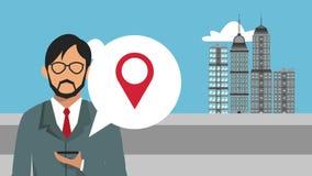 Homme d'affaires utilisant l'animation de GPS APP HD illustration stock