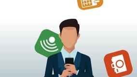 Homme d'affaires utilisant l'animation de smartphone illustration stock