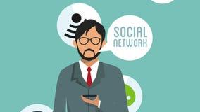 Homme d'affaires utilisant l'animation sociale du réseau HD illustration stock