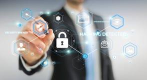 Homme d'affaires utilisant l'antivirus pour bloquer un rendu de l'attaque 3D de cyber Image libre de droits