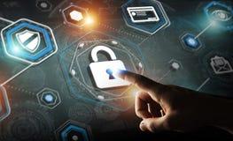 Homme d'affaires utilisant l'antivirus pour bloquer un rendu de l'attaque 3D de cyber Images stock