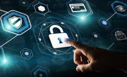 Homme d'affaires utilisant l'antivirus pour bloquer un rendu de l'attaque 3D de cyber Photos stock