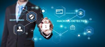 Homme d'affaires utilisant l'antivirus pour bloquer un rendu de l'attaque 3D de cyber Images libres de droits