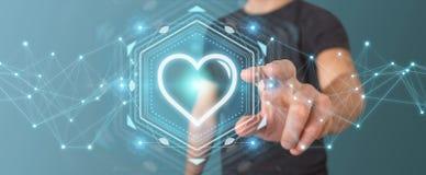 Homme d'affaires utilisant l'application de datation pour trouver l'amour 3D en ligne pour déchirer Photographie stock