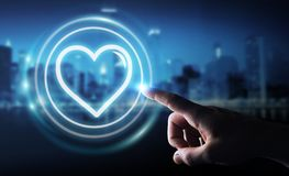 Homme d'affaires utilisant l'application de datation pour trouver l'amour 3D en ligne pour déchirer Image libre de droits