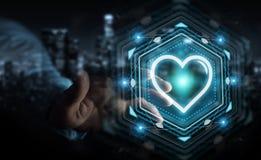 Homme d'affaires utilisant l'application de datation pour trouver l'amour 3D en ligne pour déchirer Images libres de droits