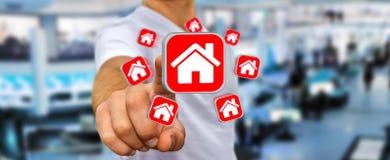 Homme d'affaires utilisant l'application moderne pour louer un appartement Photos stock